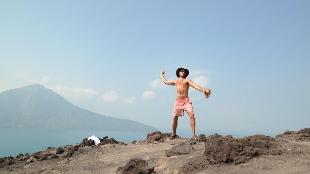 Tossing the baseball on top of Krakatoa